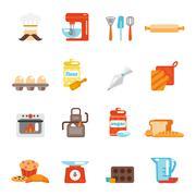 Bakery icon flat - stock illustration