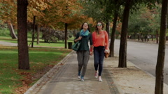 Lesbian walking in the park and holding hands, steadycam shot Stock Footage