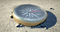 compass in the desert - stock illustration
