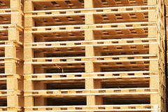 Stock of new wooden euro pallets at transportation company. - stock photo