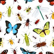Insects seamless pattern - stock illustration