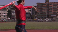 Throwing the javelin Stock Footage