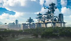 Aerial view of Futuristic City with flying spaceships Piirros