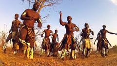 African tribal song and dance variations in Victoria Falls, Zimbabwe. - stock footage
