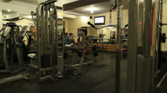 Stock Video Footage of Local fitness center studio equipment. Steady cam shot