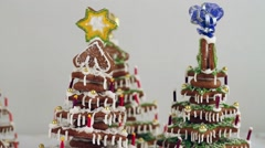 Gingerbread house and Christmas tree Stock Footage