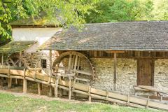 Wooden Watermill In Forest - stock photo