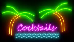 Cocktails neon sign lights logo text glowing multicolor cocktail Stock Footage