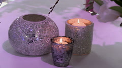 Decorated candle holders as interior elements Stock Footage