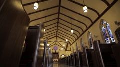 Church Pews / Ceiling | Low angle tracking shot Stock Footage
