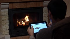 Looking For Christmas Wallpapers In Front Of A Fireplace Christmas Concept Stock Footage