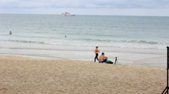 Thailand. 25 july 2014. Chaweng beach with tourists on Koh Samui. HD. 1920x1080 Stock Footage
