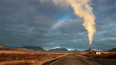 D.i.y. homemade geothermal steam power generator on a farm road in Iceland Stock Footage
