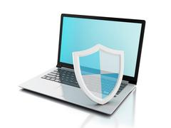 Stock Illustration of 3d laptop with shield. internet security, antivirus concept