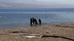 The group of divers enters the sea Stock Footage