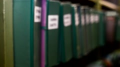 Books on shelves - stock footage