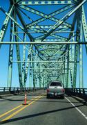 Light traffic crossing the  columbia river Stock Photos