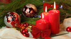 Three Red Christmas Candles - stock footage