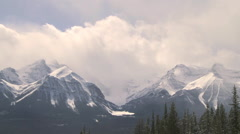 Time lapse of winter clouds over Lake Louise, Banff National Park - stock footage