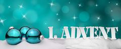 1. advent - gifts - turquoise - snow - stock illustration