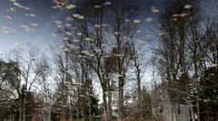 Rural scene reflected on surface of pond - stock footage