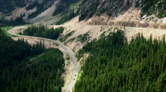 Switchback Road through the North Cascades National Park - stock footage