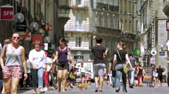 Pedestrian shopping street - Rennes France Stock Footage