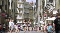 Pedestrian shopping street - Rennes France Stock Footage