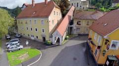 Old buildings aerial footage Stock Footage