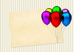 Birthday card with colorful party balloons and blank vintage paper Piirros