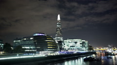 Amazing night sky over London City Hall and The Shard Stock Footage