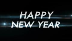Happy New Year Text with Alpha Matte, Loop - stock footage