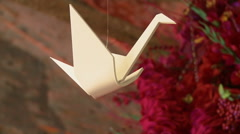 White crane as part of wedding decoration Stock Footage