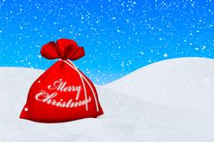 red bag with merry christmas sign under snowfall - stock illustration