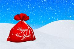 Red bag with happy new year sign under snowfall Stock Illustration