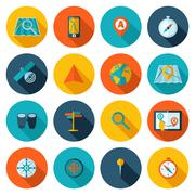 Navigation icon flat set - stock illustration