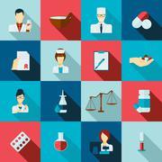 Pharmacist icon flat set Stock Illustration