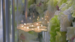 View of melted candles in glass vase Stock Footage