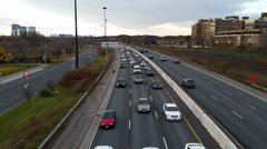 Slow moving traffic on Gardiner Expressway in Toronto Stock Footage