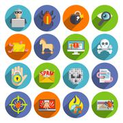 Hacker icons flat set Stock Illustration
