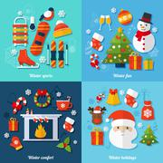 Stock Illustration of Winter flat set