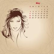 """artistic vintage calendar for may 2014. """"woman beauty"""" series. - stock illustration"""