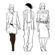 sketch. fashion girls - stock illustration