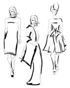 SKETCH. Fashion girl - stock illustration