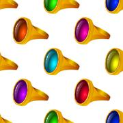 Gold rings with gems, seamless Stock Illustration