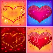 backgrounds, red hearts - stock illustration