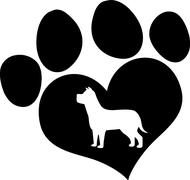 Black Love Paw Print With Dog Silhouette - stock illustration