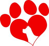 Red Love Paw Print With Dog Head Silhouette - stock illustration