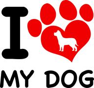 I Love My Dog Text With Red Heart Paw Print And Dog Silhouette - stock illustration