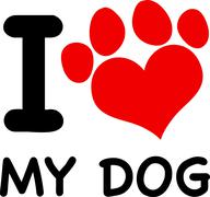 I Love My Dog Text With Red Heart Paw Print - stock illustration